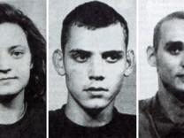"""Fahndungsbilder, die zu keiner Festnahme führten: Aufnahmen der späteren NSU-Terroristen von Beate Zschaepe (v.l.), Uwe Boehnhardt und Uwe Mundlos, die 1998 in der """"Ostthüringer Zeitung"""" veröffentlich"""