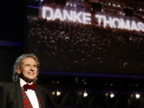 Host Gottschalk smiles at the end of 'Wetten Dass' in Friedrichshafen