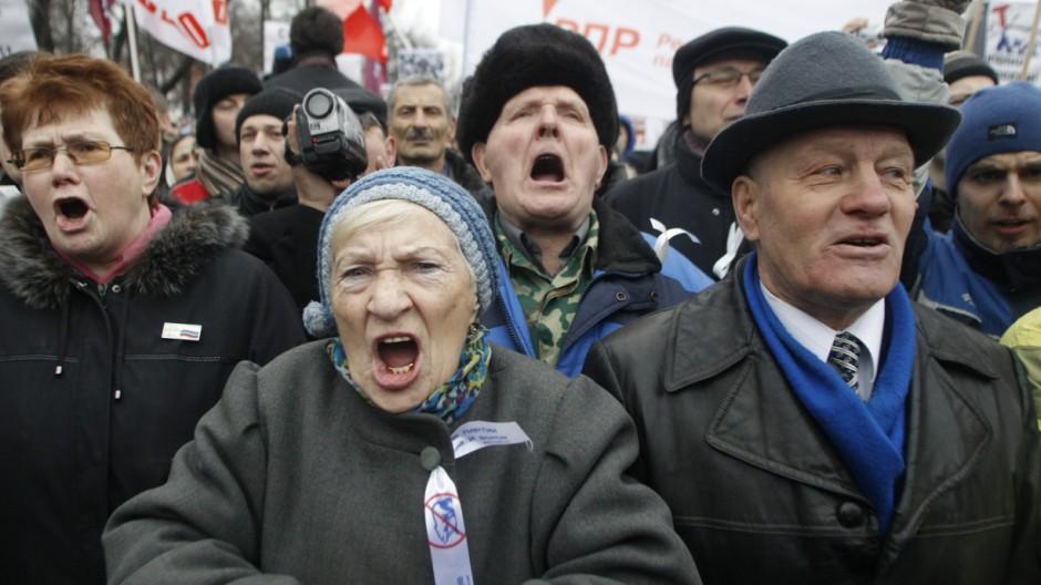 Parolen gegen Putin: regimekritische Demonstranten am Wochenende in Moskau.