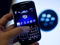 A BlackBerry handset is displayed in Washington
