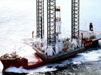 'Kolskaya' oil drilling rig is seen in the Sea of Okhotsk in this undated handout photo