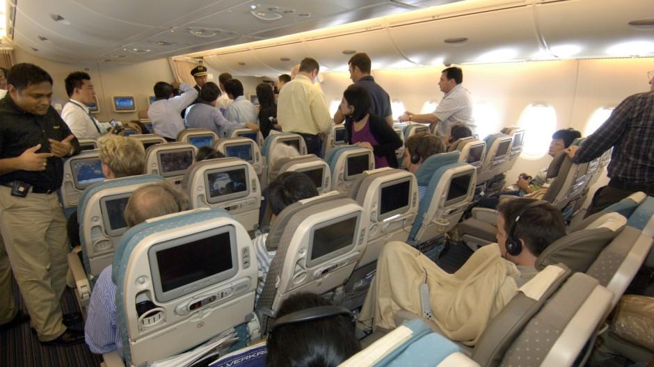 Passagiere Kabine Flugzeug