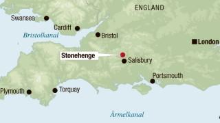 Englandkarten mit Stonehenge