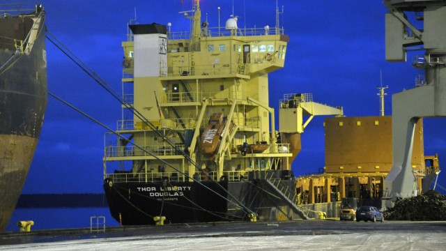 British registered cargo ship MS Thor Liberty is docked at Mussalo harbour in Kotka