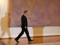 German President Wulff arrives to make a statement in the presidential Bellevue palace in Berlin