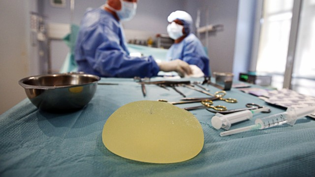 A defective silicone gel breast implant manufactured by French company Poly Implant Prothese is seen  after being removed from a patient in a clinic in Nice