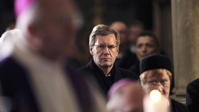 Germany's President Wulff attends the funeral ceremony inside Prague Castle's St. Vitus Cathedral