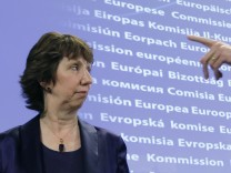 Catherine Ashton briefs the media on the latest situation in Libya during a news conference in Brussels