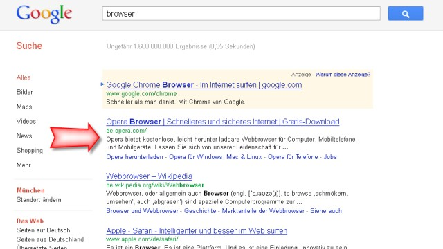 Chrome bei Google abgewertet