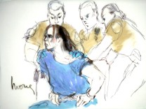 Courtroom sketch of arson suspect Harry Burkhart in Los Angeles