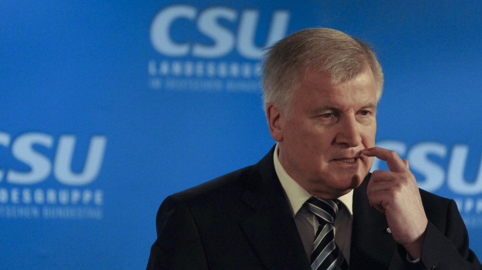 Bavarian state premier Seehofer speaks at a press conference in Wildbad Kreuth