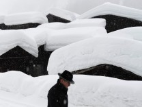 Heavy snowfall hit the alpine parts of Switzerland