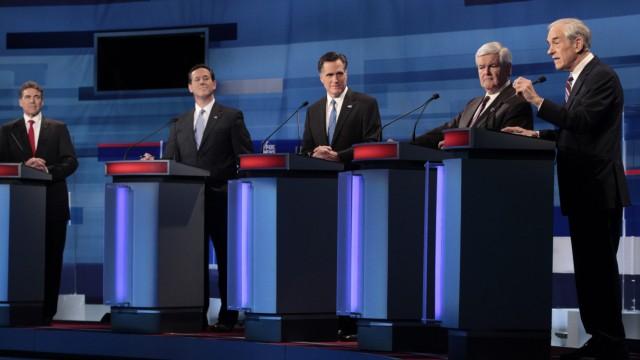Rick Perry, Rick Santorum, Mitt Romney, Newt Gingrich, Ron Paul