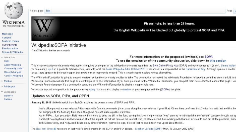 Wikipedia schließt sich Protesttag an