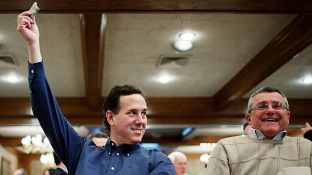 GOP Presidential Hopeful Rick Santorum Campaigns In New Hampshire