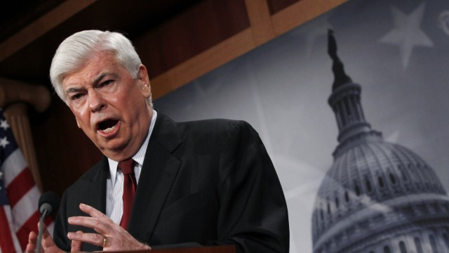 Senator Chris Dodd unveils his financial reform substitute on Capitol Hill in Washington