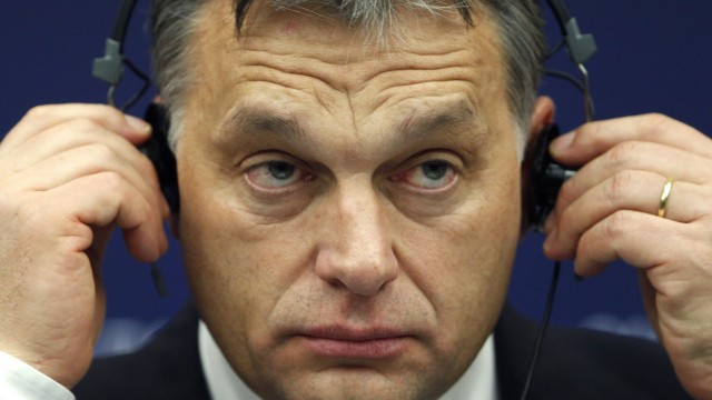 Hungary's Prime Minister Orban attends a press briefing at the European Parliament in Strasbourg