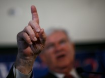 Republican U.S. presidential candidate and former House Speaker Gingrich gestures during during his victory speech at his South Carolina Primary election night rally in Columbia
