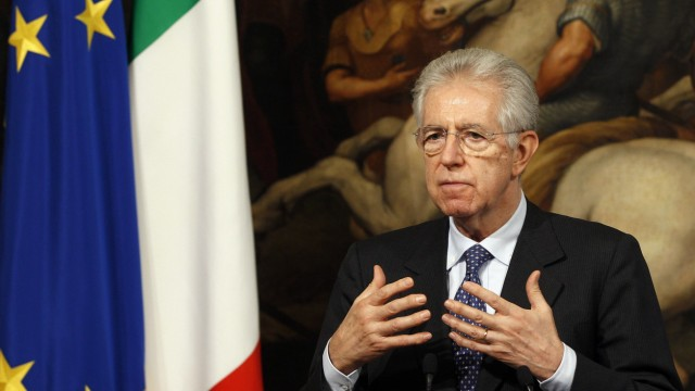 Italian Prime Minister Mario Monti speaks during a news conference at the end of a meeting with Poland's Prime Minister Donald Tusk in Rome