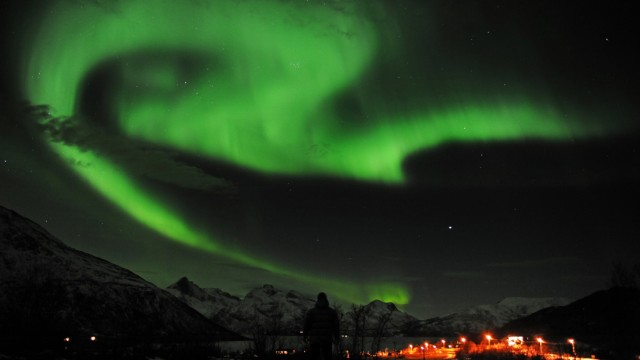 A general view of the aurora borealis near the city of Tromsoe in northern Norway
