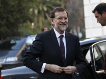 Spain's PM Rajoy arrives to meet with his Portuguese counterpart Coelho in Sao Bento Palace in Lisbon