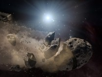 A NASA artist's concept of a broken-up asteroid