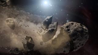 A NASA artist's concept of a broken-up asteroid