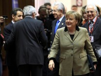 Germany's Chancellor Angela Merkel arrives at a European Union summit in Brussels