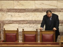 Greek Finance Minister Venizelos attends a parliament session in Athens