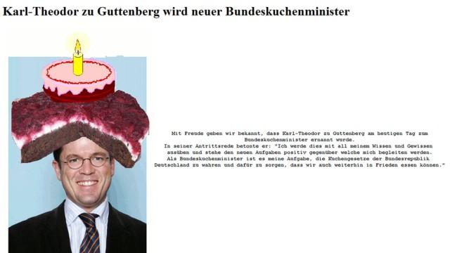 Hacker knacken Guttenbergs Homepage: 'Neuer Bundeskuchenminister'