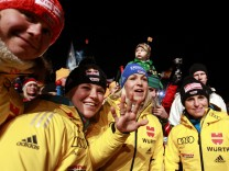 German biathlon team pose during the opening ceremony of the Biathlon World Championships in Ruhpolding