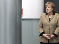 German Chancellor Merkel waits for the arrival of Abu Dhabi's Crown Prince Sheikh Mohammed bin Zayed Al Nahyan at the Chancellery in Berlin