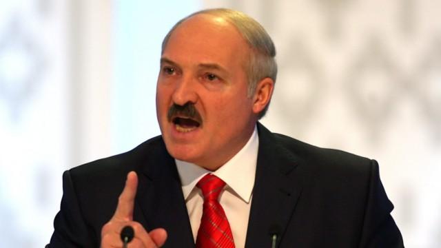 Belarussian President Alexander Lukashenko speaks during a press