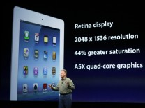 Phil Schiller, senior VP of Worldwide Marketing, speaks about the new iPad during an Apple event in San Francisco