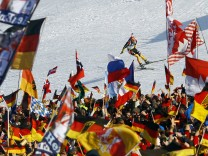 Pfeiffer from Germany skies to third palce in the men 4 x 7.5 km relay race at the Biathlon World Championships in Ruhpolding