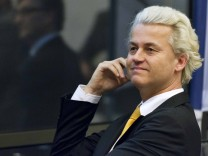 Populist Freedom Party (PVV) leader Geert Wilders reacts at a news conference in The Hague