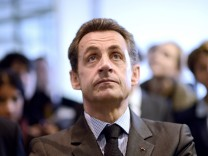 Sarkozy is seen during his visit to the 'Pole Emploi' in Vitre