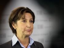 Suckale, head of Human Resources of Deutsche Bahn, addresses a news conference in Berlin