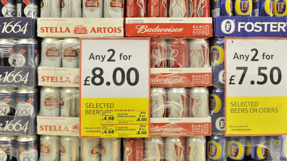 The UK government to propose minimum price per unit of alcohol ac