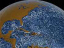 Handout of a still image showing the Gulf Stream around North America taken from Perpetual Ocean, a visualization of some of the world's surface ocean currents