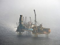 An aerial picture shows Total's Elgin Wellhead Platform in the North Sea off the Scottish coast
