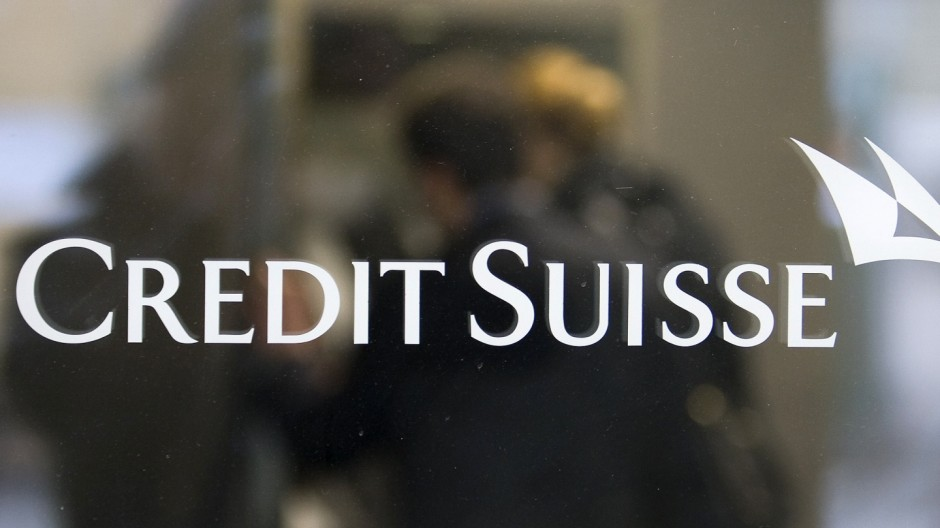 A Credit Suisse logo is pictured on a Swiss bank Credit Suisse building in Bern