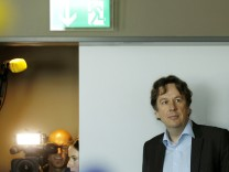Swiss meteorologist and TV weather host Kachelmann awaits a news conference in Zurich