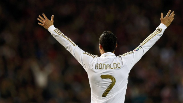 Real Madrid's Ronaldo celebrates scoring his second goal during their Spanish first division soccer match in Madrid