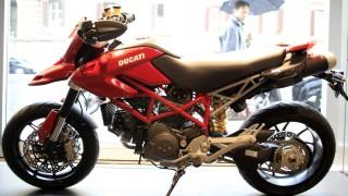 A Ducati Hypermotard is seen in a Ducati motorbike shop in Rome