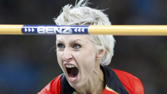 Friedrich of Germany celebrates during the women's high jump final during the world athletics championships in Berlin