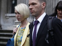 Ceri Subbe, the sister of British MI6 agent Gareth Williams, leaves Westminster Coroner's Court in central London