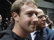 Facebook Inc. CEO Mark Zuckerberg leaves New York City's Sheraton Hotel