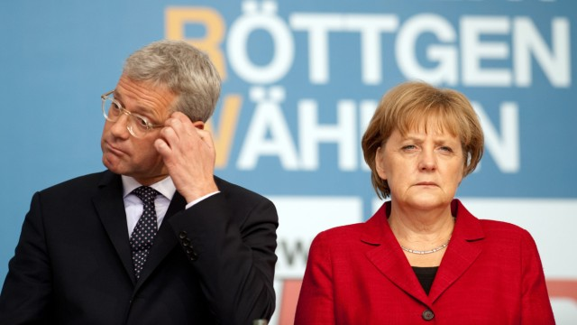 Wahlkampf NRW - Merkel und Röttgen