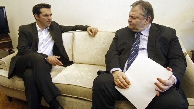 Coalition of the Radical Left (SYRIZA) leader Alexis Tsipras meet